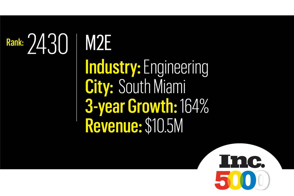 2019 Inc. 5000 Fastest Growing Companies in the U.S. - M2E Consulting Engineers