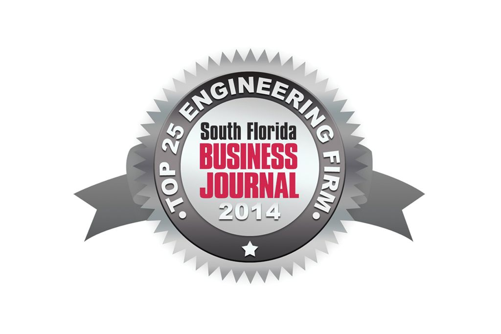South Florida Business Journal Top 25 Engineering Firm Award 2014